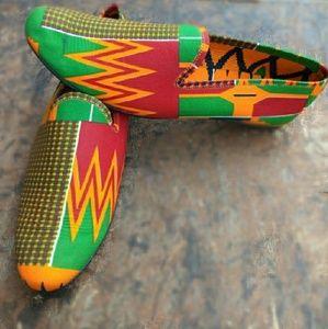 African fabric design shoe